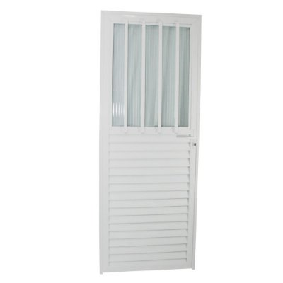 Porta Carioca Branca 210x80 Direita, Vidro Fumê