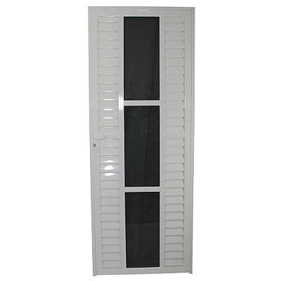 Porta Elegance Branca 210x80 Abe. Direita, Vidro Incolor