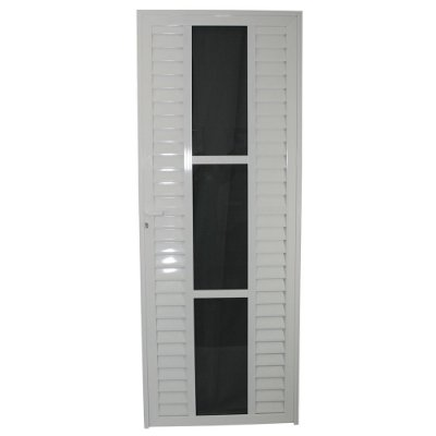 Porta Elegance Branca 210x80 Esquerda, Vidro Mini Boreal