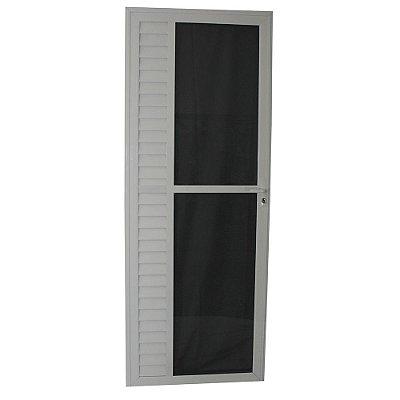 Porta Luxo Branca 210x80 Abe. Esquerda, Vidro Mini Boreal