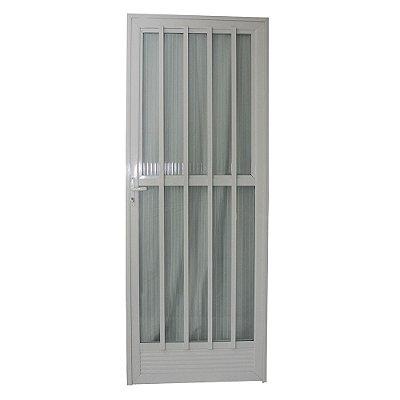 Porta Palito Branca 210x70 Abertura Direita, Vidro Fumê