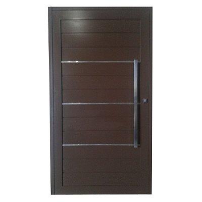 Porta Pivotante de Alumínio Marrom 220x140 Abertura Esquerda