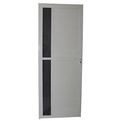 Porta Requinte Branca 210x80 Direita, Vidro Mini Boreal