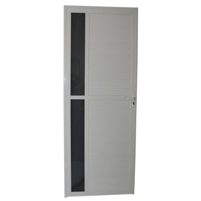 Porta Requinte Branca 210x80 Abertura Esquerda, Vidro Fumê