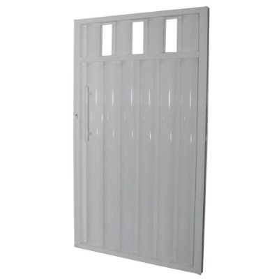 Portão Búzios com Grade Branco 180x82 Abertura Esquerda
