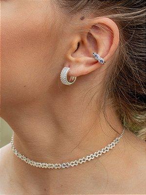 Fake piercing conch azul em prata 925