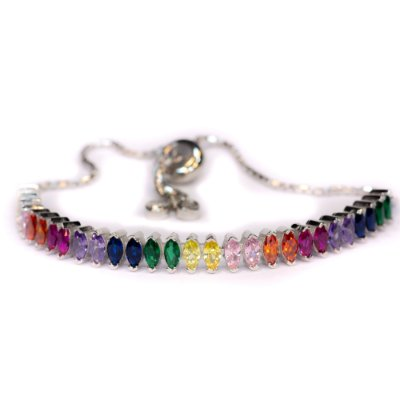Pulseira Riviera navetes coloridas ajustável em prata 925