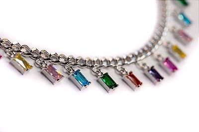 Choker riviera rainbow prata 925 ajustável