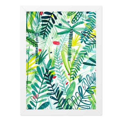 Quadro A4 Folhas Tropicais Desenho
