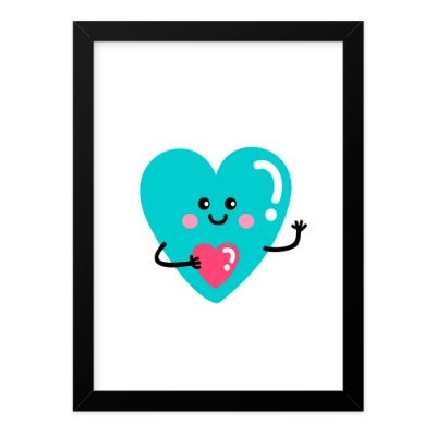 Quadro A4 Cute Love Heart Smile