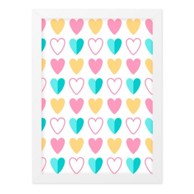 Quadro A4 Cute Love Hearts