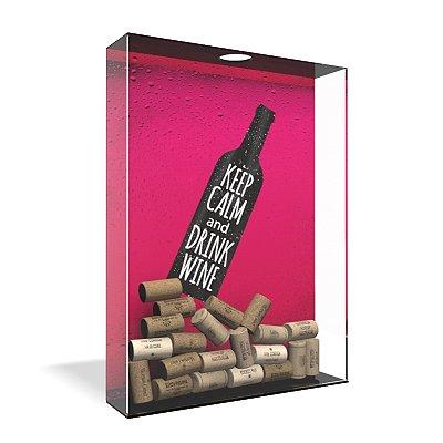 Quadro Porta Rolha de Vinho Acrílico - Drink Wine