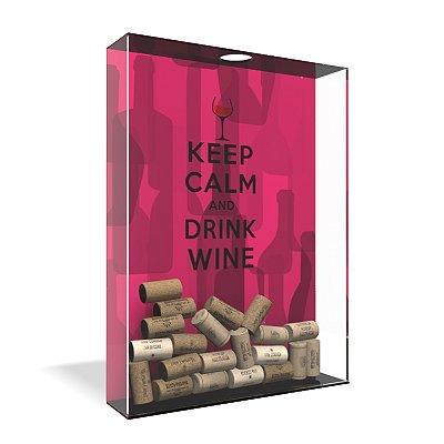 Quadro Porta Rolha de Vinho Acrílico - Keep Calm