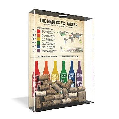 Quadro Porta Rolha de Vinho Acrílico - Makers x Takers