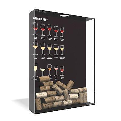 Quadro Porta Rolha de Vinho Acrílico - Qual copo usar