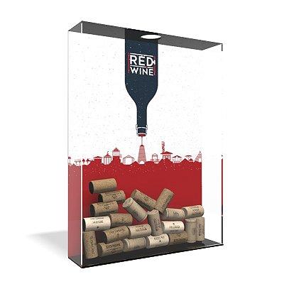 Quadro Porta Rolha de Vinho Acrílico - Red Wine Town