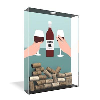 Quadro Porta Rolha de Vinho Acrílico - O melhor Vinho