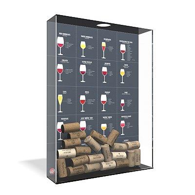 Quadro Porta Rolha de Vinho Acrílico - Tipos de Vinho