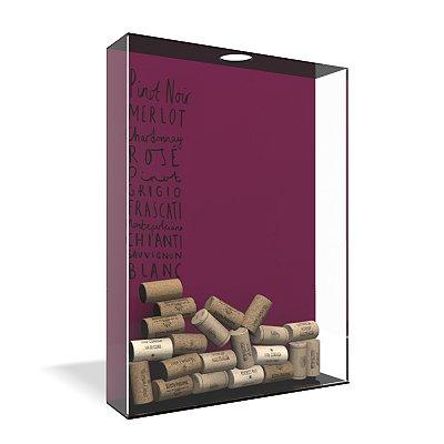 Quadro Porta Rolha de Vinho Acrílico - Tipos de Vinho Escrito