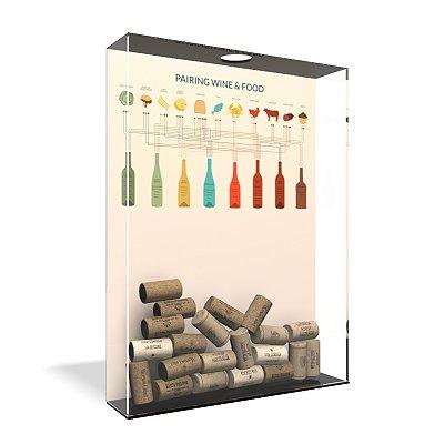 Quadro Porta Rolha de Vinho Acrílico - Vinhos x Refeições