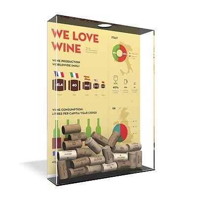 Quadro Porta Rolha de Vinho Acrílico - We Love Wine