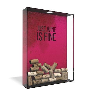Quadro Porta Rolha de Vinho Acrílico - Wine is Fine