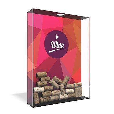 Quadro Porta Rolha de Vinho Acrílico - Wine Geometric