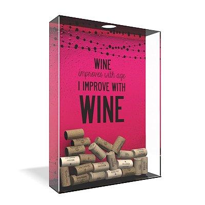 Quadro Porta Rolha de Vinho Acrílico - Wine Improves