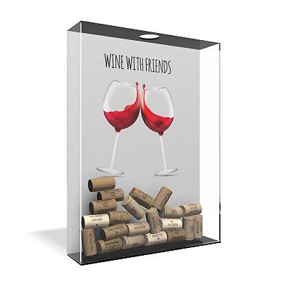 Quadro Porta Rolha de Vinho Acrílico - Wine with Friends