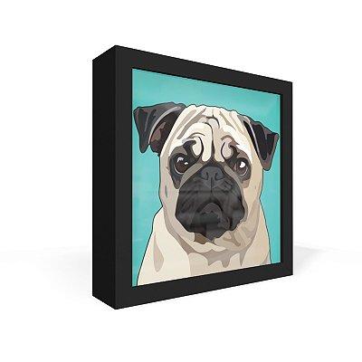 Quadro Caixa Frontal Pug Bege