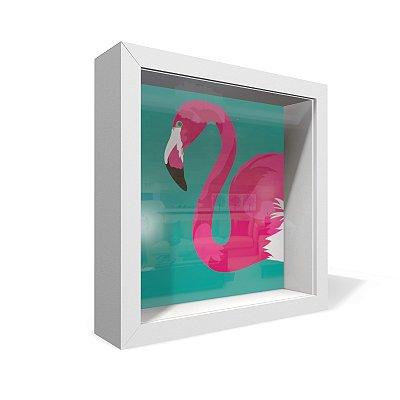 Quadro Caixa 20X20 Flamingo