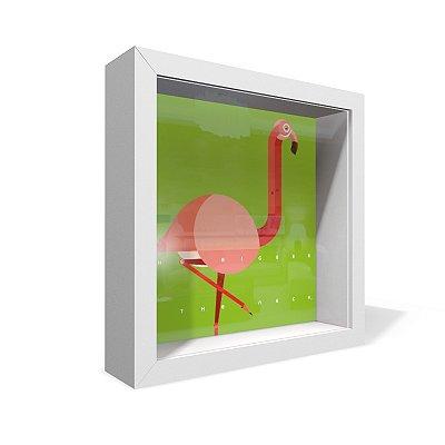 Quadro Caixa 20X20 Flamingo Verde