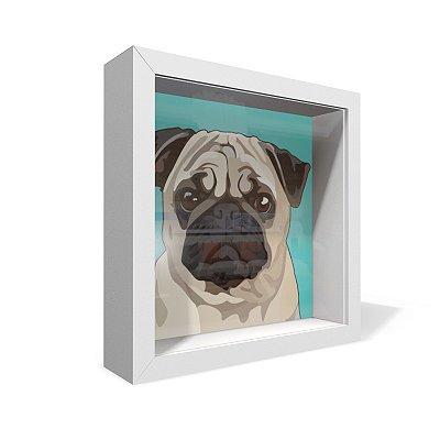 Quadro Caixa 20X20 Pug Bege