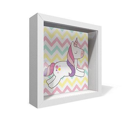 Quadro Caixa 20X20 Unicornio Zig Zag