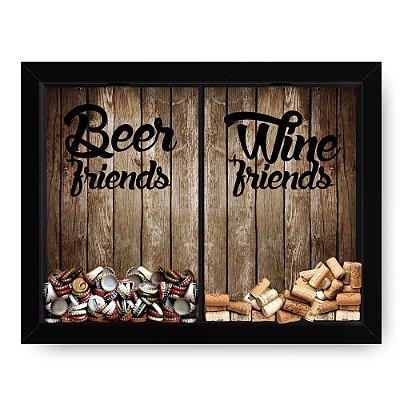 Quadro Double Porta Rolha e Porta Cerveja Beer + Friends Ripas madeira  (60x40cm)