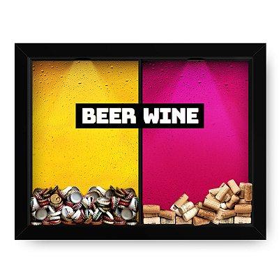 Quadro Double Porta Rolha e Porta Cerveja Beer x Wine tag (60x40cm)