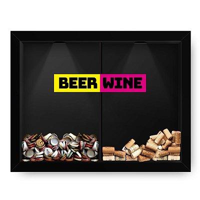 Quadro Double Porta Rolha e Porta Cerveja Beer x Wine etiqueta Black  (60x40cm)
