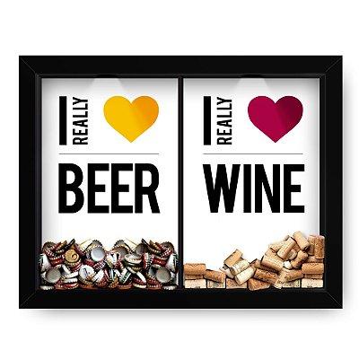 Quadro Double Porta Rolha e Porta Cerveja Love Wine Beer Branco (60x40cm)