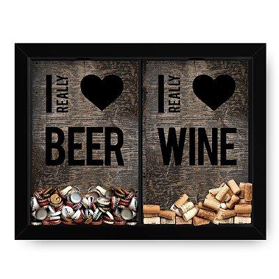 Quadro Double Porta Rolha e Porta Tampinhas Love Wine Beer Madeira (60x40cm)