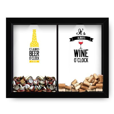 Quadro Double Porta Rolha e Porta Cerveja Wine Beer o'clock  (60x40cm)
