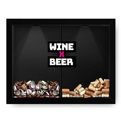 Quadro Double Porta Rolha e Porta Cerveja Beer x Wine Black 2 (60x40cm)