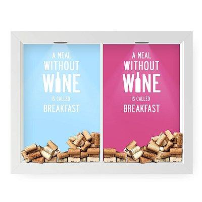 Quadro Double Porta Rolha e Porta Wine Breakfast (60x40cm)