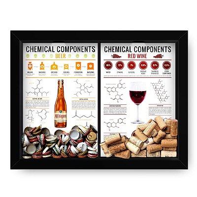 Quadro Double Porta Rolha e Porta Tampinha Chemical Componentes