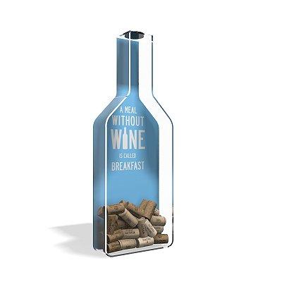 Porta Rolha de Vinho Garrafa Acrílico Breakfast Azul