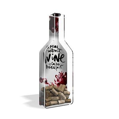 Porta Rolha de Vinho Garrafa Acrílico Breakfast Wine Branco