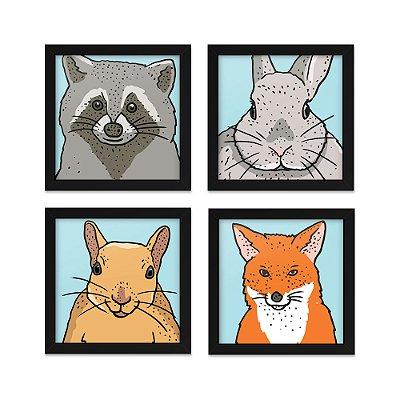 Quadros 20x20 (4 unidades) Animais da Floresta