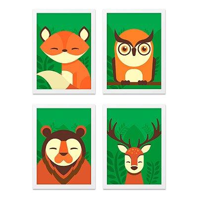 Quadros 20x30 (4 unidades) Animais Floresta