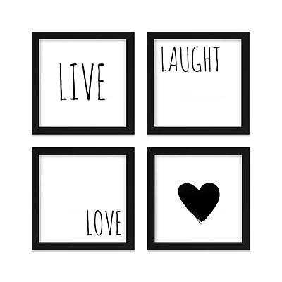 Quadros 20x20 (4 unidades) Live, Love branco