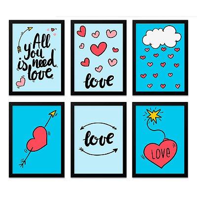 Quadros 20x30 (6 unidades) Love Azul