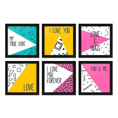 Quadros 20x20 (6 unidades) Love